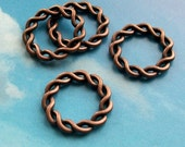 SALE - 10 big braided wreath connectors, antique copper tone, 20mm