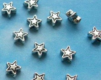500 very tiny star beads, etched outline, silver tone, 4mm