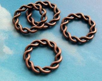 SALE - 10 big braided wreath connectors, antique copper tone, 20mm