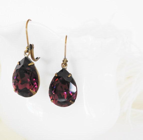 FREE SHIPPING Vintage Swarovski Amethyst Estate  Pear  Earrings  Bridal Weddings Retro Crystal Elegant Brass Antiqued settings Purple