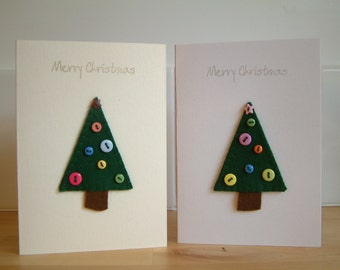 Christmas Card - Button Christmas Tree - Yule - Wool Felt - Decoration - Merry Christmas