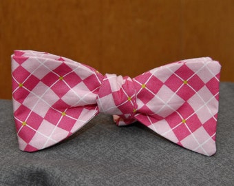 Pink on Pink with Green Accent Argyle  Bow Tie
