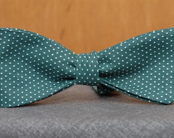 Hunter Green and White Polka Dot  Bow Tie