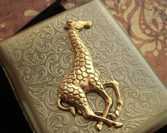 Large Giraffe Cigarette Case Extra Big Antiqued Bronze Gold Metal Wallet Gothic Victorian Steampunk Safari Animal Vintage Inspired