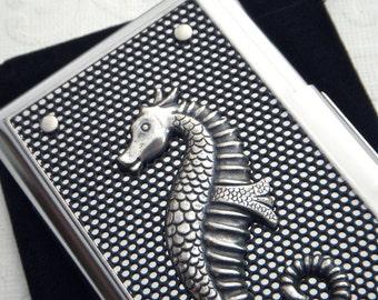 Silver Seahorse Business Card Case Seahorse Card Case Nautical Sea Life Card Case Gothic Victorian Steampunk Card Case Black Mesh Metal Case