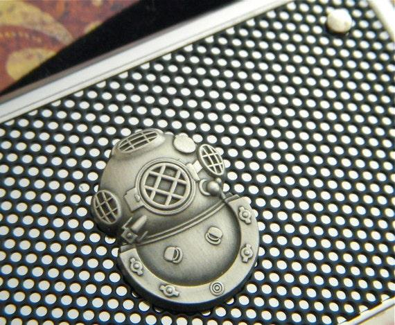 Steampunk Card Case Nautical Steampunk Industrial Inspired Silver & Black Scuba Diving Diver Helmet Card Holder