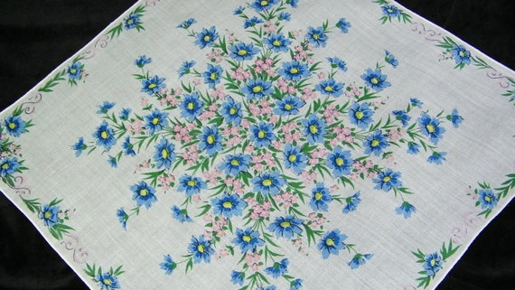 """Vintage 13"""" Pretty Pink and Blue Floral Wedding Favors Handkerchief, 7446"""