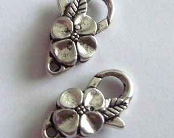 Silver Blossom Lobster Clasps