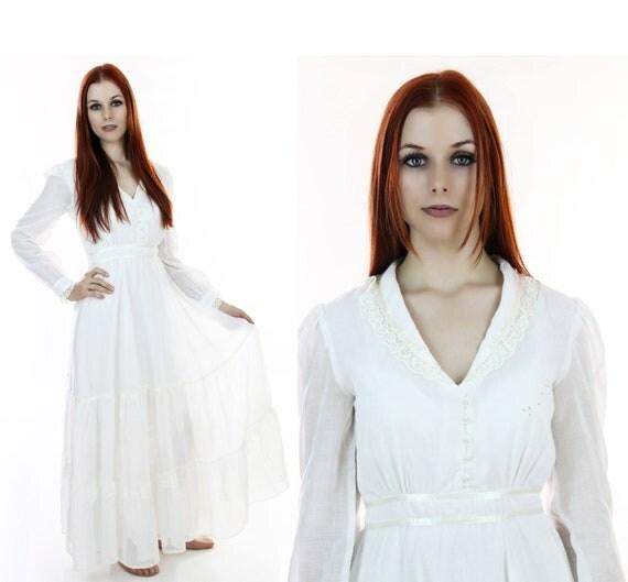Gunne Sax Style Dress Victorian Wedding Vintage 70s White Lace Hippie Boho Prairie Peasant Small S Medium M