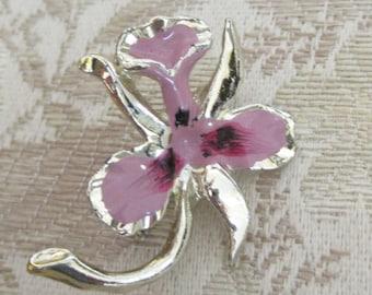 Vintage Enamel Orchid Flower Scatter Pin Brooch