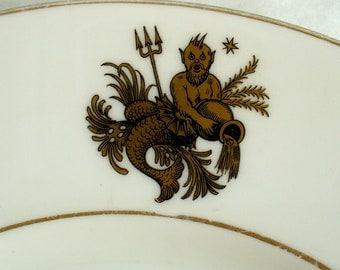 Aquarius Plate, Zodiac plate,  Tuscan China, Vintage white plate