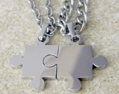 You are the Piece to My Puzzle His and Hers Stainless Steel Necklaces