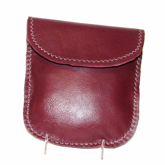 Garnet Burgundy Wine Lambskin Pouch Cinnamon Raisin Cosmetic Case Wallet Handmade