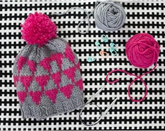 Triangle Knit Hat  Colourwork Fair Isle PDF Pattern