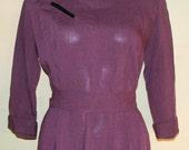 M Vintage 40s Jack Mann Original Purple Houndstooth Wool Dress Velvet Details