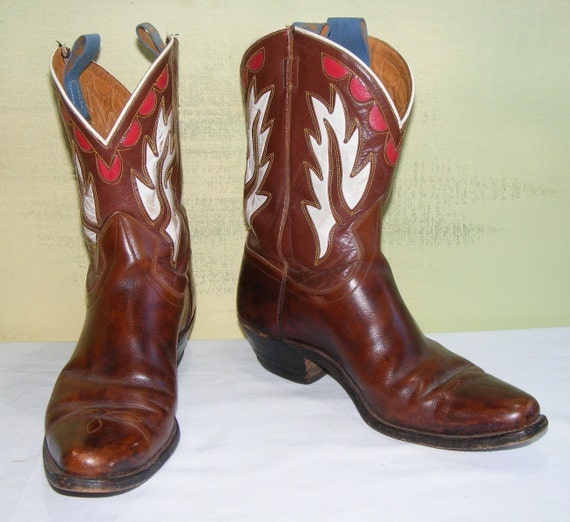 Vintage Goding Boots Rockabilly Pee Wee Marbled Brown Red