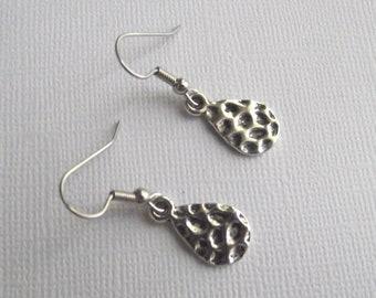 Hammered Silver Teardrop Plate Dangle Earrings