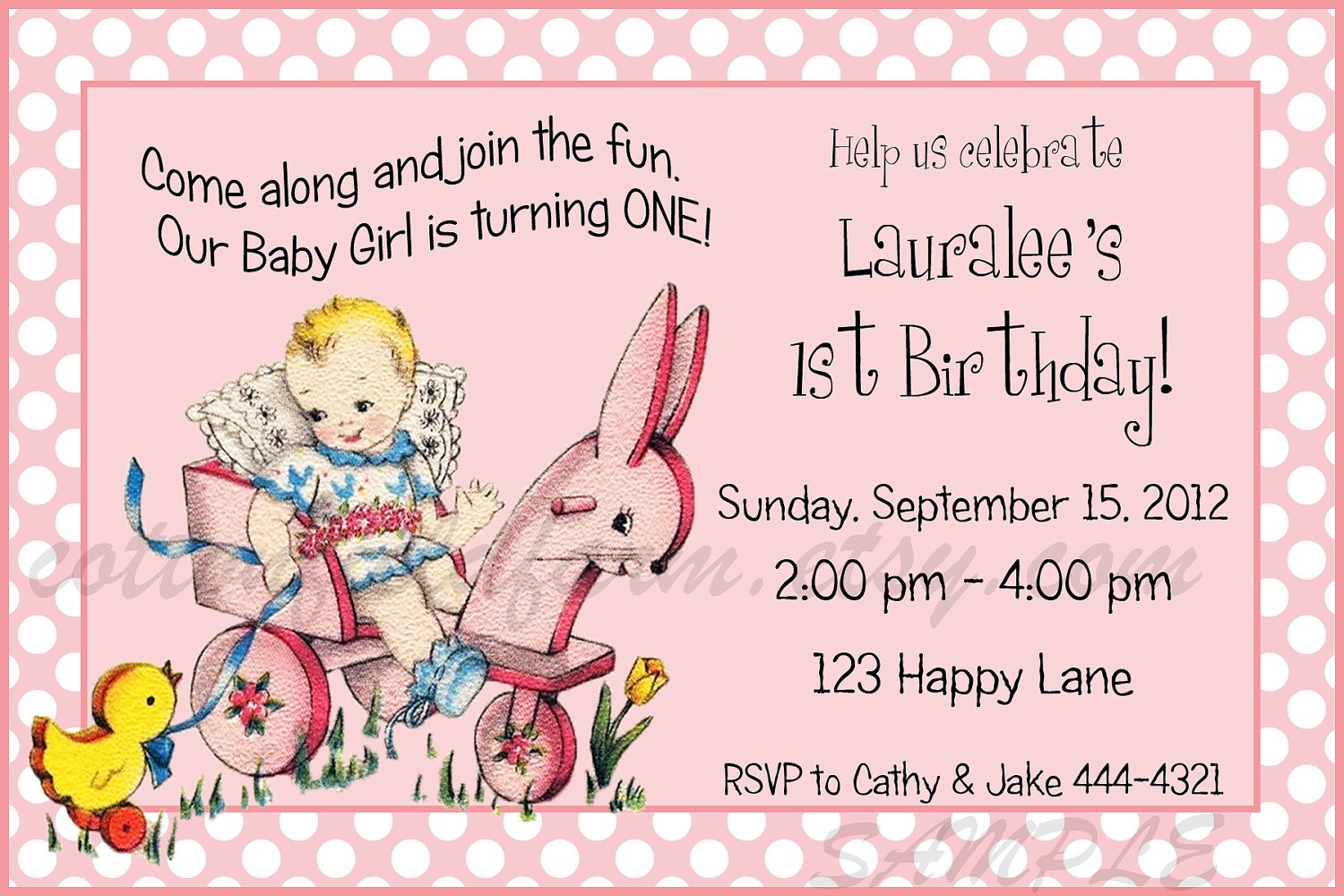 Items similar to Retro Baby Girl First Birthday Party Invitation ...