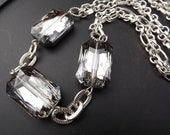 Holiday Jewelry , Silver chain necklace, large smoky crystals