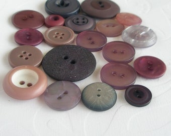 Button mix, for scrap booking, gray purple