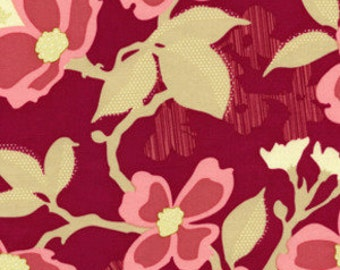 Dogwood Bloom Modern Berry Dark Pink and Maple Brown Fabric by Joel Dewberry - 1 yard