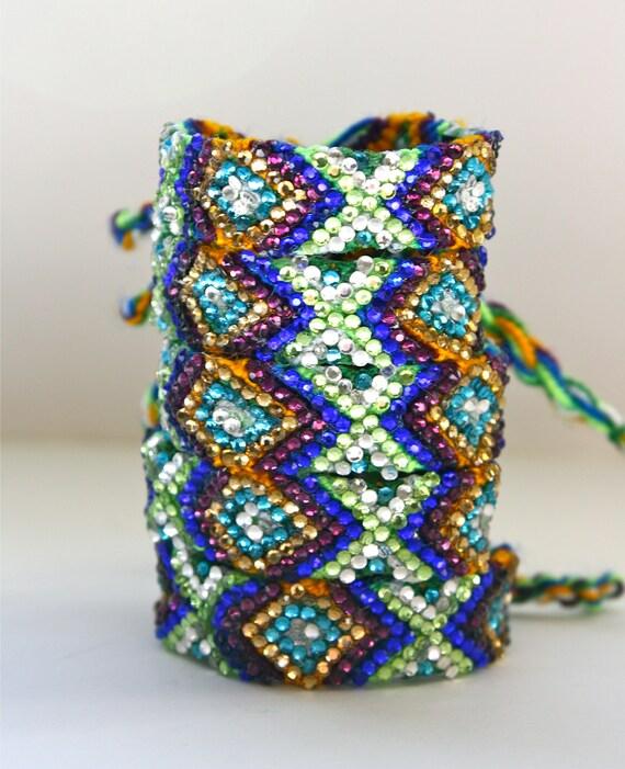 The Original Swarovski Crystal Friendship Bracelet-  Ivy Design ( Green, Amber, Blue & Silver)