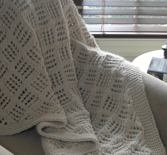 Pattern For Knitted Throw Blanket : Knitted Throw Blanket - PDF Knitting pattern for blanket afghan - easy patter...