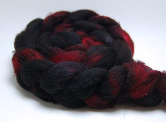Bloodlust - 4 oz Red Black Handpainted Superwash Merino Wool Top Roving
