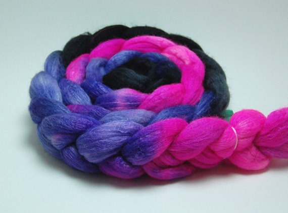 Grapes of Wrath - 4 oz Fuchsia Purple Black Handpainted Merino Silk Wool Roving Top