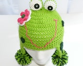 Childs frog hat crochet in green with pink flower custom sizes and colors boy or girl
