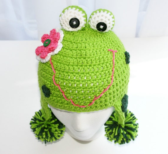 Items Similar To Childs Frog Hat Crochet In Green With