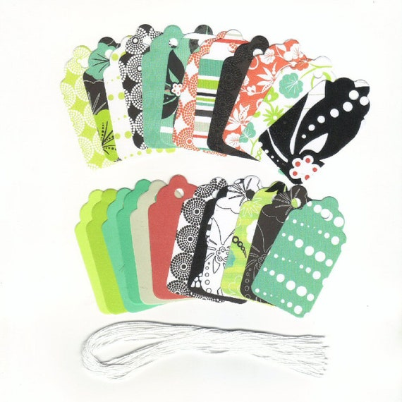 CLEARANCE SALE 50 Off - Assorted Medium Scallop Tags (Set of 75) No Color/Pattern Selection