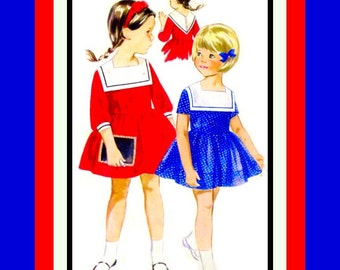 Vintage 1960s-Darling Toddler Dress -Sewing Pattern -Middy Contrast Collar -Braid Trim- Unique Back- Size 3- Mega Rare