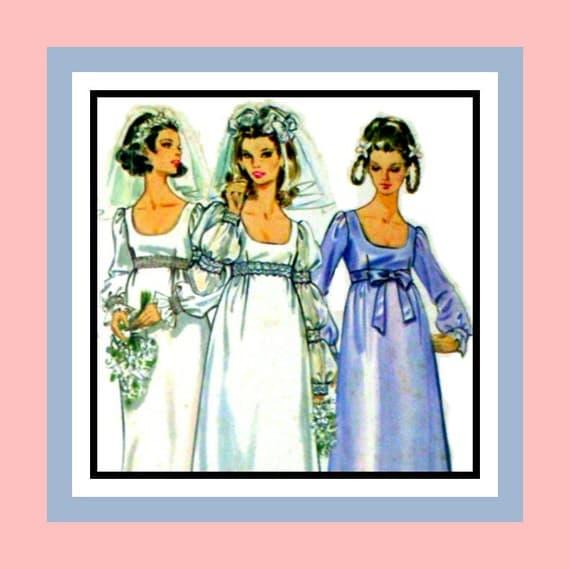 Vintage 1960s- Romantic Empire Waist Wedding Gown- Sewing Pattern- Ballon -Juliette -Bishop -Sleeves- Scoop Neckline- Uncut- Size 14-Rare
