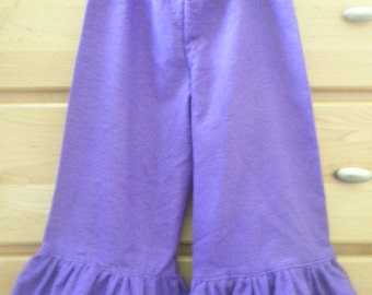 Childs flannel LOUNGE or PAJAMA ruffle capris or long pants size preemie up to 10 any color