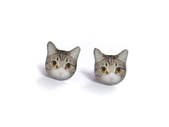 Cute Short-hair Yellow Eyes Cat Kitten Stud Earrings - A025ER-C15   Made To Order