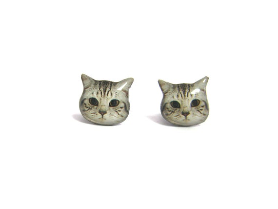 Cute Short hair Cat Kitten Stud Earrings - A05ER-C09  Made To Order