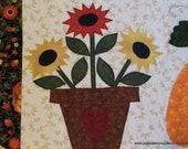 Folkart Quilted Fiber Art Wall Hanging Applique Sunflowers and Pumpkin