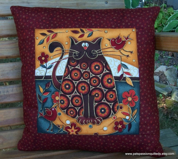 Quilted Throw Pillow Fall Decor Cat In By Patspassionquilteds