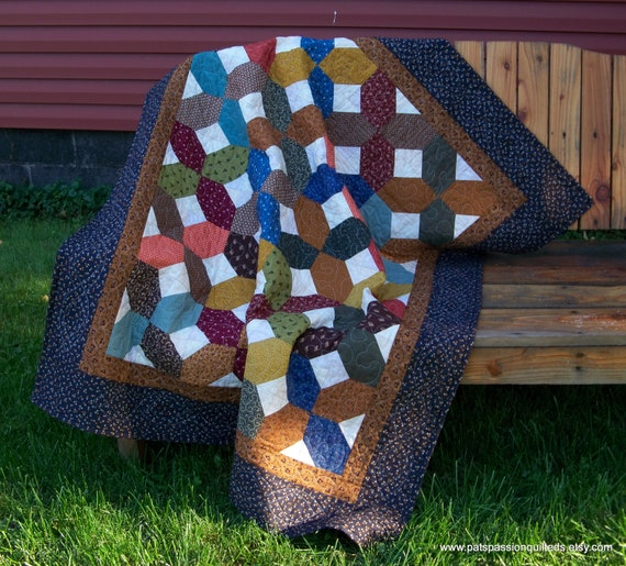 Patchwork Lap Quilt or Wall Hanging Fall Reproduction Scrappy