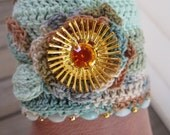 Autumn in Aspen Crochet Cuff Bracelet with Salvaged Jewelry Eco Friendly Blue Green Brown Ombre