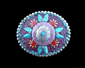 Southwestern Native American Style Sterling Silver and Turquoise Mosaic Belt Buckle
