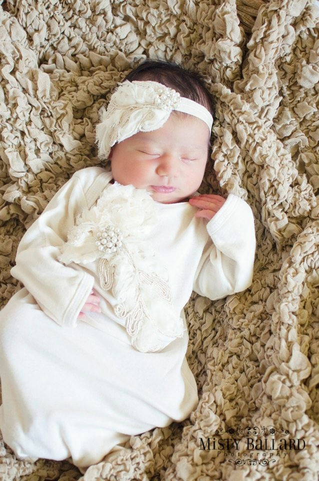 Take me home outfit gown in vintage ecru ivory feather for for Baby wedding dresses newborn
