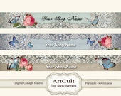 ETSY SHOP BANNERS Set No18 - Multipurpose digital images/ Printable Download/ Digital Collage Sheets/ Bookmarks/ Paper Goods