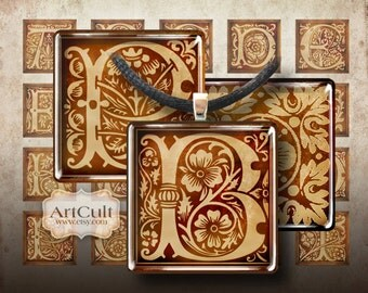 Digital Collage Sheet ANTIQUE INITIALS 1x1 inch size printable images for square tile pendants magnets bezel trays scrapbooking by ArtCult