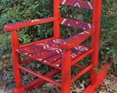 Hand Painted Child Rocking Chair in Red