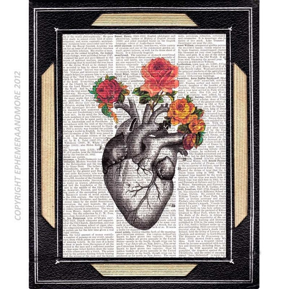 Wall Decoration For Wedding Anniversary : Heart with roses art print wall decor mother love wedding