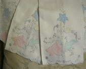 Set of 4 linen hand embroidered guest towels made in Portugal Never Used.