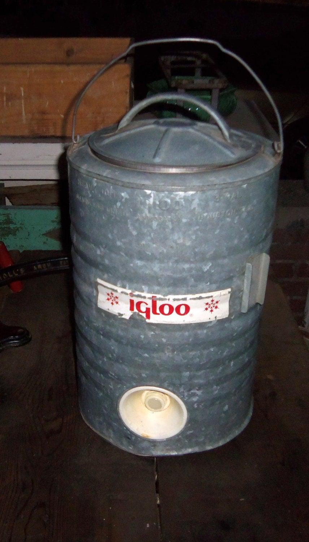Vintage metal cooler igloo industrial steel ice water by - Igloo vintage ...
