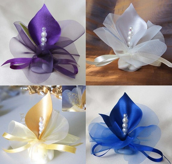 Luxury Wedding Favors Calla Lily Crystal Gold Silver By Adiart1